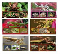 MANTIS INSECT BUGS 6 SOUVENIR SHEETS MNH UNPERFORATED