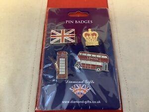 4 XSOUVENIRS ENAMEL LONDON / UK PIN BADGES - NEW