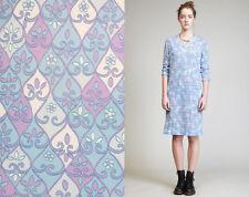 Vtg 60s 1960 Dress Knit Pucci-esque Print Geometric Mod V-neck Blue Purple M L