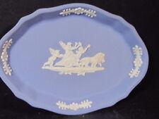 "Wedgwood Jasperware Pale Blue Oval Plate Or Pin Tray 4 1/4"" x 3"" Cherubs Lions"