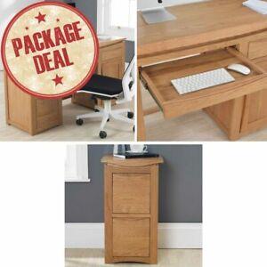 Crescent Solid Oak Office Furniture Computer Desk And Filing Cabinet Package