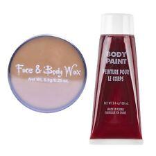 Paquete De Kit De Maquillaje Halloween SFX Cera Accesorio de sangre falsa piel Gory herida abierta BN