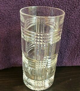 Clear Crystal Glen Plaid Double Old Fashioned Whiskey Rocks Glass