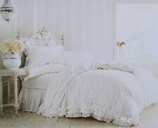 RACHEL ASHWELL Simply Shabby Chic White Poplin Ruffle Lace Duvet Set FULL QUEEN