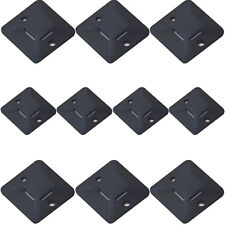 10x – Black Plastic Cable Tie Bases -19x4mm- Sticky Back Adhesive Mount Conduit