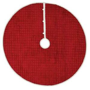 "VHC Farmhouse 48"" Tree Skirt Christmas Holiday Decor Festive Red Chenille Cotton"