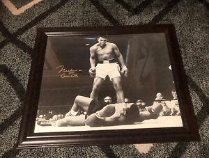 "Muhammad Ali ""Aka Cassius Clay"", Gold Auto wCOA 16x20 B&W Photo, KO of Liston"