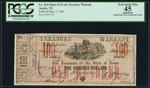 Obsolete Currency Austin, TX- State of Texas $100 May 7, 1863 Cr. 36A Medlar 116