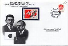 Signo de la segunda guerra mundial 1941 Rusia y Japón pacto de no agresión Sello Cubierta (Danbury Mint)