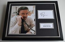 Ricky Gervais SIGNED FRAMED Photo Autograph 16x12 display The Office AFTAL COA