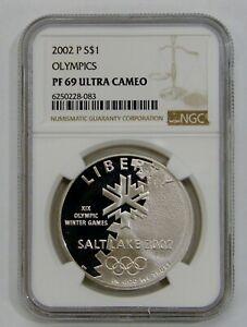 2002 P - Salt Lake Olympics Proof Commemorative Silver Dollar - NGC PF 69 UC