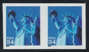 """3477a - 34c VF-XF Diecut Omitted Imperf Error/EFO Pair """"Statue of Liberty"""" MNH"""