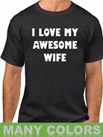 I Love My Awesome Wife #2 T Shirt Anniversary Birthday Gift T-Shirt Cupid Heart