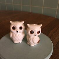 Vtg Owl Salt Pepper shakers bone china Made in Japan White big eyes collectible