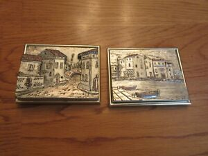 2 framed Italian Relief etched carved silver pink Venice Italy wood metal signed