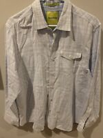 Tommy Bahama Men's Light Blue 100% Cotton Long Sleeve Button Down Shirt Size L