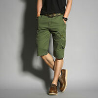 Mens Summer Shorts Solid Color Casual Pants multi-pocket Overalls Mid Length new
