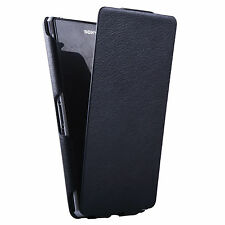 Compressed Slim Leather Flip Black Front Back Cover Case for Sony Xperia Z1