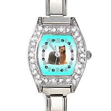 Yorkshire Yorkie Terrier Dog CZ Ladies Italian Charm Bracelet Wrist Watch BJ1123
