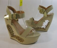 "Skin Tone 6"" High Spike Heart Wedge 2"" Platform Ankle Strap Sexy Shoes Size 6"