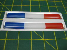 2 DOMED FRENCH FLAGS with a chrome outline 70mm X 10mm