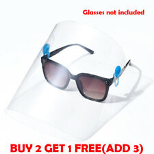 Clear Safety Face Visor Mask Shield Clip On Glasses Fit Most Glasses