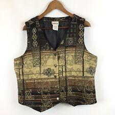 Women's Size Medium Vest Metal Button Casual to Dressy Metallic Print
