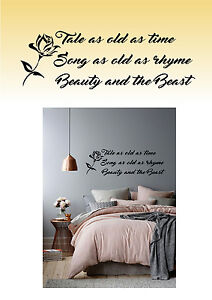 Beauty and the beast Disney Inspired  wall art Sticker Decal Home decor bedroom