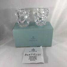 PartyLite Glacier Lights Votive Glass Candle Holder Pair P7657