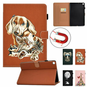Case for Samsung Galaxy A7 T500/T505 Tablet Animal Painted Stand Leather Cover