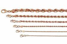 """14k oro rosa sólido Soga Cadena Collar 1.5-6mm para hombres Para mujeres talla 16"""" -30"""""""