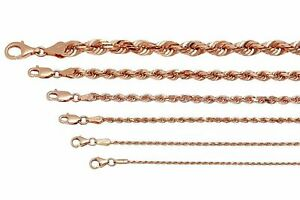 """14k Solid  Rose Gold Rope Chain Necklace 1.5mm-5mm Men's Women Sz 16""""-30"""""""