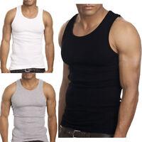 3-6 Packs Mens 100% Cotton Tank Top A-Shirt Wife Beater Undershirt Ribbed New