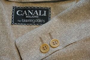 Canali Solid Light Brown Textured Silk Blend Sport Coat Jacket Sz 40R