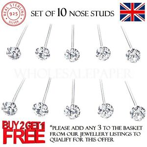 10 x STERLING SILVER CLEAR CRYSTAL STRAIGHT I SHAPE STUDS CLAW SETS NOSE PIN 925