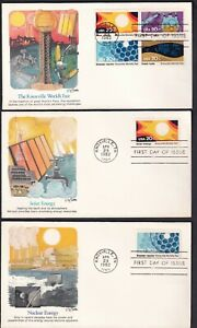 US 1982 FDC Set of 7 Scott 2009a BL of 4 #2006-2009 Knoxville World's Fair TN
