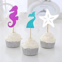 Cake Unicorn Mermaid Tail Sequin flip topper Decoration Party Decorative Flag