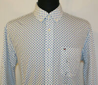 Tommy Hilfiger Classic Fit Mens Large White & Blue Floral Long Sleeve Shirt NWOT