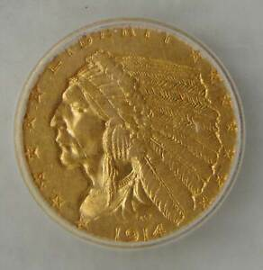 1914 GOLD $2.5 INDIAN HEAD QUARTER EAGLE, ICG AU55 ~ Beautiful Coin!