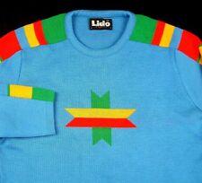 Lido California Ski Sweater Blue Sz M 50% 1980 Wool Blend