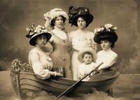 Antique Photo... 4 Women & Boy In Boat Prop Photo... Photo Print 5X7