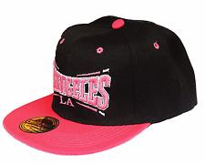 Basecap Baseball SNAP BACK CAP Schwarz Pink Los Angeles Fittet Damen Herren LA 4