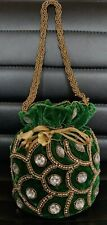 Designer Green Potli Bag Velvet Drawstring Pouch Indian Wedding Crystal Clutch