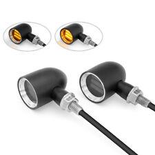 Custom Moto Mini Indicadores LED Negro Con Bisel Cromado Par De Aluminio Cnc