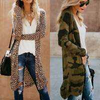 US Leopard Jacket Women Sweater Top Warm Casual Cardigan Long Sleeve Coat Winter