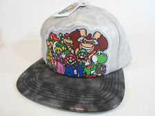 Super Mario Friends Silver Black Bros Snap Back Baseball Hat Snapback Flat Bill