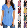 Women Summer Short Sleeve V Neck T Shirt Casual Solid Blouse Zipper Tassel Tops