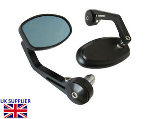 Motorcycle Handle Bar End Mirrors Side Rear View Cafe Racer PAIR - BLEMISHED