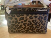 NWT Coach  East/West Crossbody With Pop-Up Pouch With Leopard Print