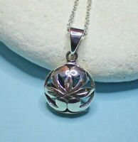 Sterling Silver Round Lotus Flower Pendant Necklace with Open Detail - UK Seller